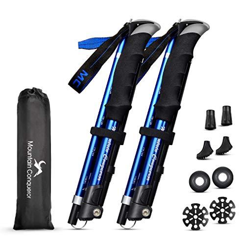 MC トレッキングポール 折りたたみ 登山ストック 軽量アルミ製 2本セット コンパクト収納バッグ付属品付き