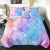 Sleepwish Tie Dye Comforter Set Colorful Marble Twin Bedding Set Cute Pink Bedspreads for Kids Teen Little Girls 4 Piece Modern Pastel Blue Purple Bed Comforter Set (Twin)