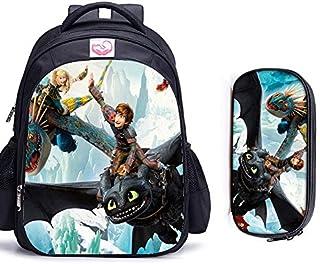 Cvxgdsfg 16 pulgadas Cómo entrenar a tu dragón ortopédicos bolsos de escuela de los niños mochila niños y niñas los niños del bolso de escuela (Color : 2pcs E)