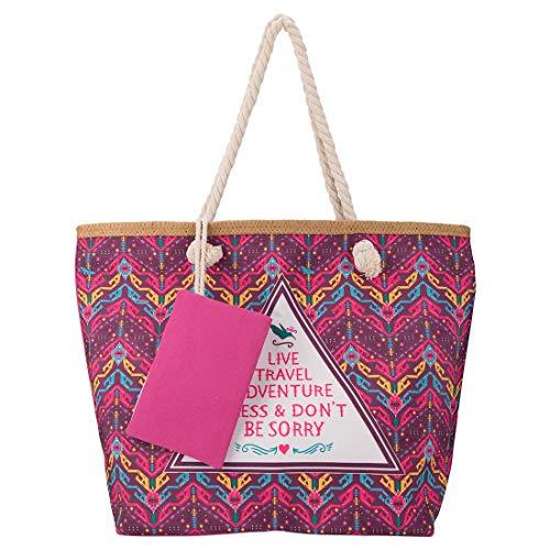 HY Bolso de Playa Grande con cremallera, Bolso de Hombro para Mujer, Ligero y Resistente, para Viajes, Compras, Vacaciones en la Playa, etc. (Rojo)