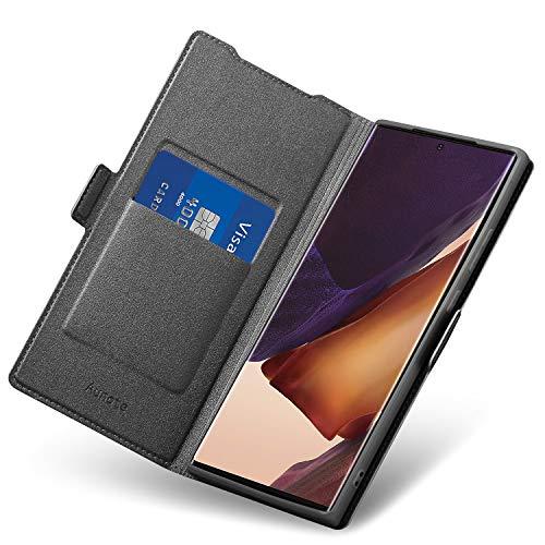 Aunote Samsung Galaxy Note 20 Ultra Hülle, Samsung Note 20 Ultra Schutzhülle, Handyhülle Note 20 Ultra Klapphülle, Samsung Note 20 Ultra Tasche, Leder Etui Folio, Flip Phone Cover Hülle. Schwarz