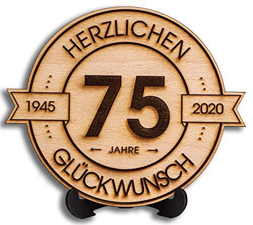 DARO Design - Holzscheibe graviert - 75 Jahre - Größe 20cm- Geschenk zum Jubiläum, 75 Geburtstag, Jahrestag - Herzlichen Glückwunsch