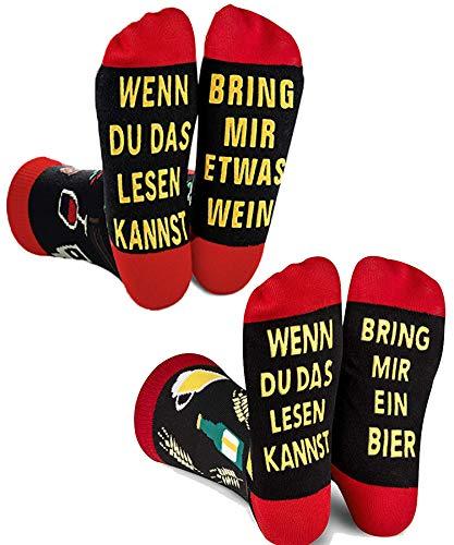 ANGOOL Bier Socken Herren and Wein Socken Herren,Lustige Socken Geschenk für Frauenzum Herren Weihnachten