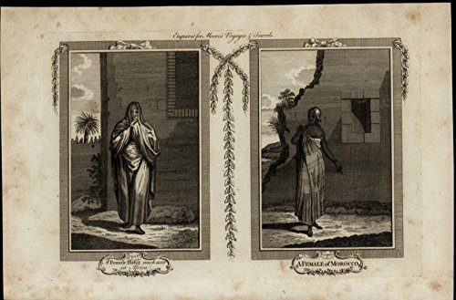 Women's Fashion Morocco Africa Dress ca. 1780's fascinating old engraved print