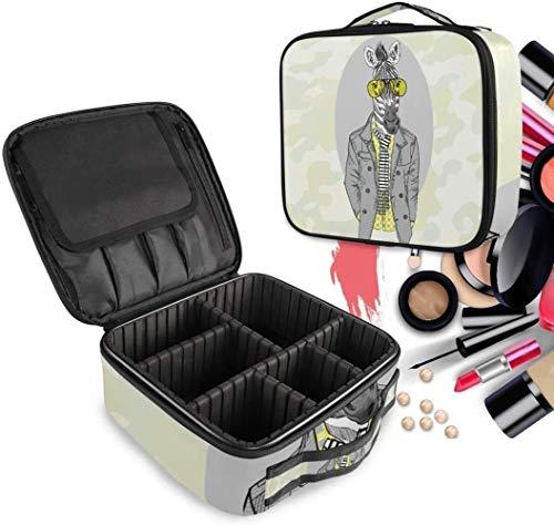 Cosmetische HZYDD Mr Zebra Paard make-up tas Toilettas Rits Make-up Tassen Organizer Pouch voor Gratis Compartment Vrouwen Meisjes tas