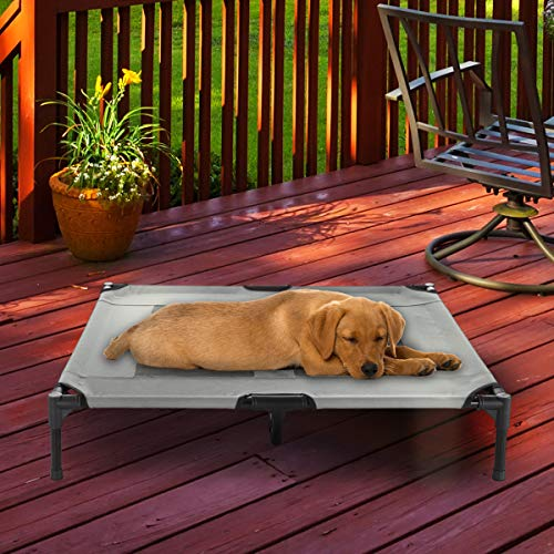 """PETMAKER Elevated Pet Bed-Portable Raised Cot-Style Bed W/Non-Slip Feet, 36""""x 29.75""""x 7"""" for Dogs, Cats, and Small Pets-Indoor/Outdoor Use (Gray)"""
