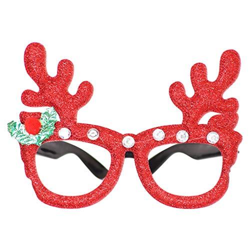 Xniral Brille Rahmen Niedlichen Cartoon Weihnachtsbrille Cartoon Verkleiden Kreative Brille Rahmen(R)