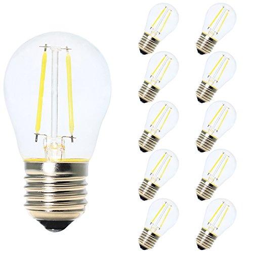 10X Vendimia LED Edison Filamento Pelota de Golf Del Bulbo G45 - Bombilla 2W Luz LED E27 - Blanco frío 6500K, Edison LED Bombilla No Regulable