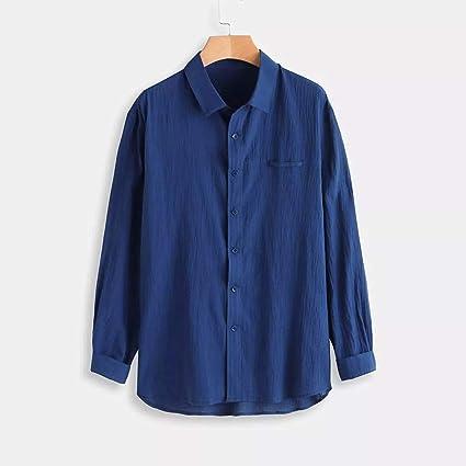 riou Camisa Hombre Blusa Suelta Casual Cuello En V Top Color ...
