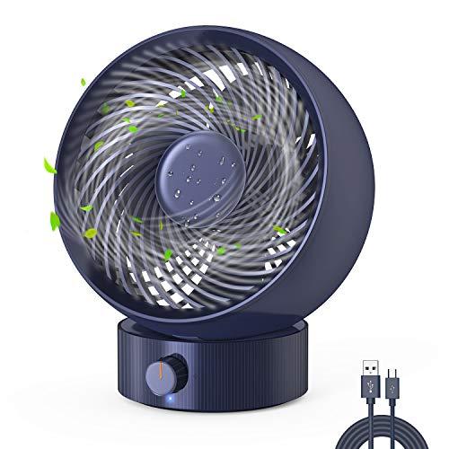 Ventilador USB, Gifort Ventilador de Mesa Mini Ventilador USB Silencioso, con Velocidad Ajustable de 180 Grados, para Coche, Oficina, Hogar, Viajes, Camping, USB Accionado