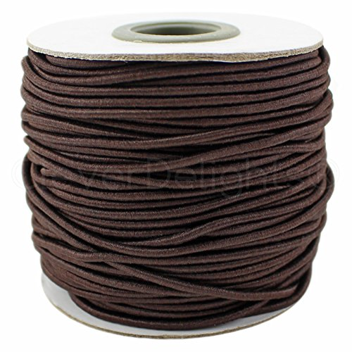 CleverDelights Brown Fabric Elastic Cord - 10 Yards - 2mm - Crafts Beading Jewelry Stretch Shock Cording