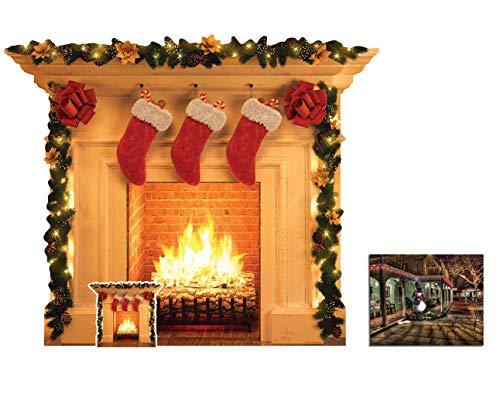 BundleZ-4-FanZ Weihnachtskamin Lebensgrosse und klein Pappfiguren/Stehplatzinhaber/Aufsteller Fan Pack, 101cm x 121cm Enthält 8X10 (25X20Cm) starfoto