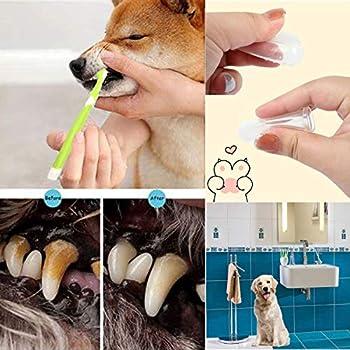 Brosse à Dents pour Animaux de Compagnie Chien Dents des Animaux Trois Têtes Brosses à Dents Doigt d'animal Familier de Silicone Pet Toothbrush pour Le Chien et Le Chat (Brosses à Dents pour Chiens)