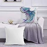 Funda de Cojín Funda de Almohada del Hogar Medusa Acuarela y Tinta Pintura Creative Sea Life Blue Medusa Square Soft and Cozy Pillow Covers,