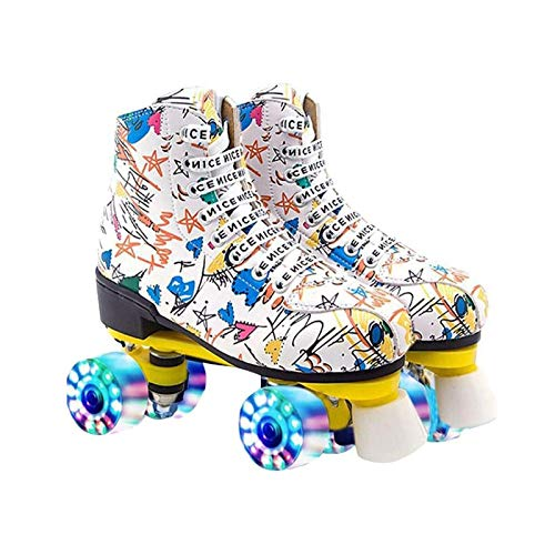 litulituhallo Womens Graffiti Roller Skates with Shiny Four Wheel Classic High Top Adustable Pu Leather White Size 7