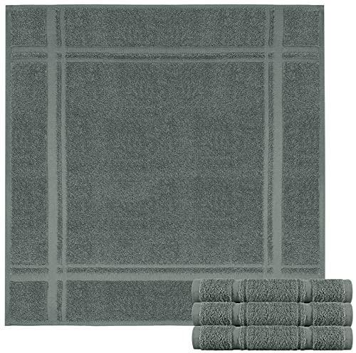 Lashuma Juego de 4 paños de cocina de rizo – Paños de cocina de 100% algodón – Paños de cocina en bonitos colores de moda, 100% algodón, gris grafito, 50 x 50 cm
