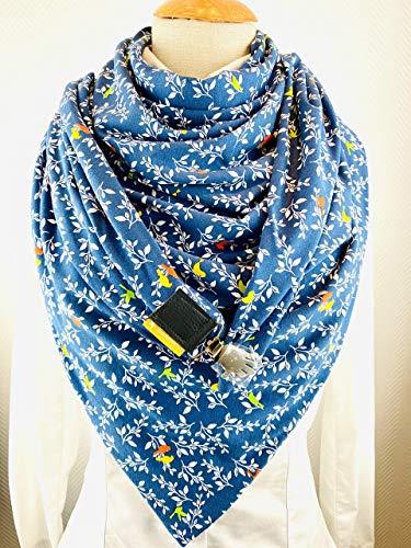 XXL Dreieckstuch! TUECHERFEE Halstuch mit süßen Clip - in mittelgrau mit weiß, senf, mint Jersey, Schal mit Verschluss