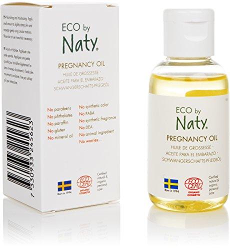 Eco by Naty, huile pour grossesse, ingrédients 100% d'origine végétale sans parfum, hypoallergénique et testé dermatologiquement, flacon de 50 ml
