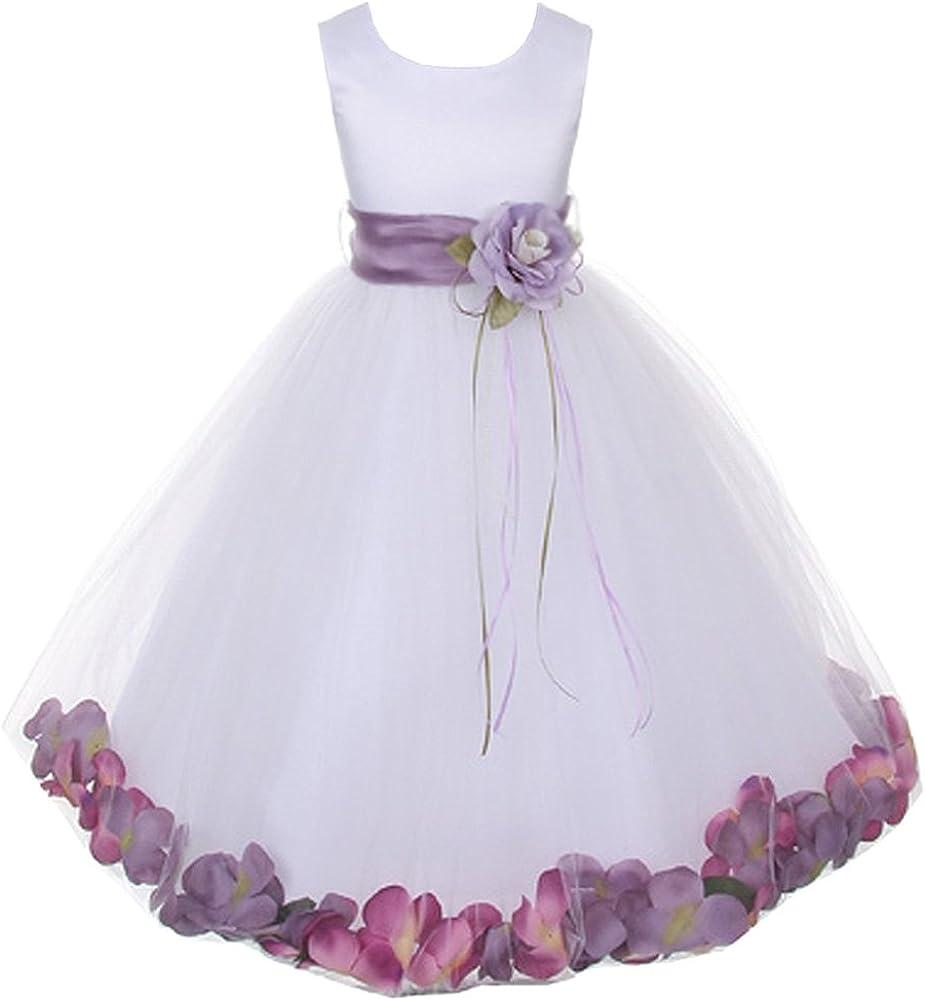 Kids Dream White Satin Lavender Petal Flower Girl Dress Girl 7/8