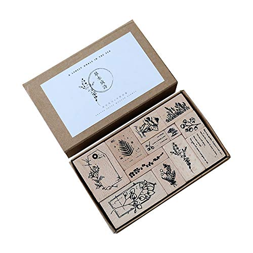 Doraking 12PCS Vintage Decorative Wooden Rubber DIY Scrapbook Stamps Seals Set for Diary Planner Scrapbook Decoration (Vegetation Poem)