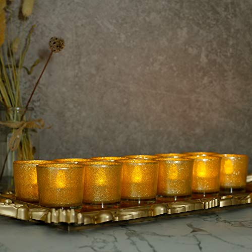 Gold Votive Candle Holders with Tea Light $8.33 (48% Off)
