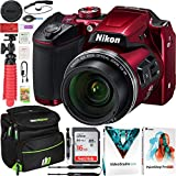 Nikon COOLPIX B500 16MP 40x Optical Zoom Digital Camera w/Wi-Fi Red Bundle with Deco Gear Photography Bag Case + Software Kit + 16GB SDHC Memory Card & Accessories