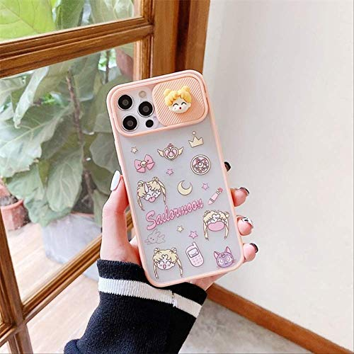 Cute Japan Anime Lens Protection Sailor Moon Soft Phone Case para iPhone 11 12 Pro MAX X XS XR 7 8 Plus SE2 Luxury 3D Pink Cover para iPhone 12 2