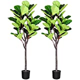 Fopamtri Artificial Fiddle Leaf Fig Tree 5.3 Feet Fake Ficus Lyrata Plant with 57 Leaves Feaux Plant for Indoor Outdoor Fake Plants in Pot for Home Office Perfect Housewarming Gift(2 Pack)