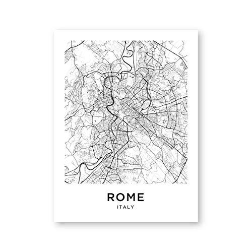 penbiubiu Rom Karte Poster Und Drucke Italien Rom Stadtstraße Reise Wandkunst Leinwand Malerei Schwarz Weiß Fotografie Bilder Wohnkultur 13X18Cm Kein Rahmen Ph2216