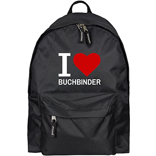 Preisvergleich Produktbild Rucksack Classic I Love Buchbinder schwarz - Lustig Witzig Sprüche Party Tasche