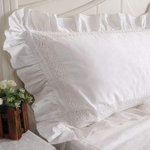 FICI Funda de Almohada de algodón Bordado Estilo Europeo 2 Piezas Funda de Almohada con Volantes de Encaje Blanco Ropa de Cama sin Relleno, 500 * 700 mm