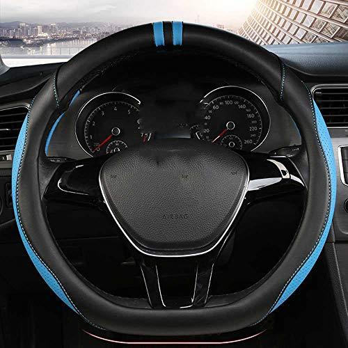 SXHNNYJ D-Serie Mikrofaser Leder Autolenkradabdeckungen 38CM Lenkradnaben Auto Styling, Fit für Golf JATTA