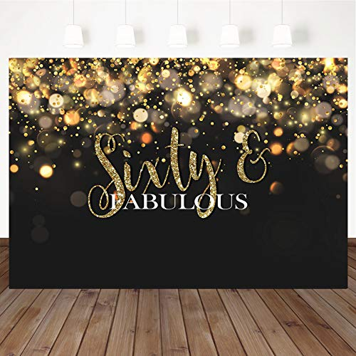 Mocsicka Sixty and Fabulous Backdrop Bokeh Glitter Gold 60th Birthday Background Black Gold Adults Happy Birthday Party Cake Table Decoration Photo Booth Props (7x5ft)