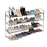 Seville Classics 3-Tier Expandable 24-Pair Shoe Rack Non-Slip Metal Freestanding Closet, Entryway, Bedroom Footwear Organizer, Chrome Poles