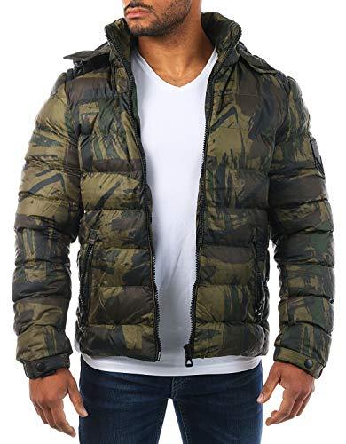 Young & Rich Herren Camouflage Stepp Winter Jacke mit Kapuze Tarn Militär Optik Look Warm gefüttert JK-455, Grösse:L, Farbe:Camouflage