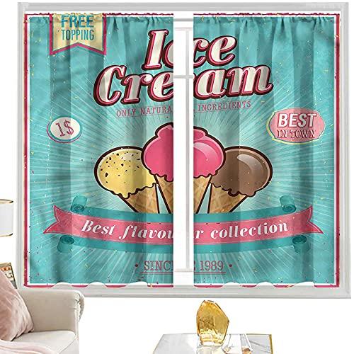 Cortina opaca con bolsillo para barra de helado, citas, 152 x 172 cm