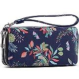 Double Zipper Long Clutch Wallet Cellphone Wallet for Women with Wristlet Strap for Card, Cash, Coin, Bill