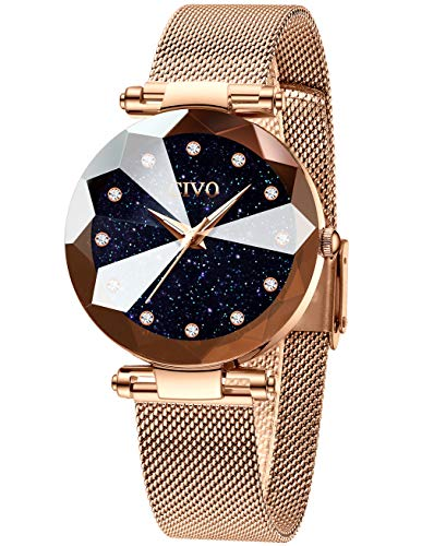 CIVO Women Watches Ladies Stainless Steel Mesh Strap Waterproof Watches for Woman Girls Teenager Fashion Elegant Business Dress Analogue Wrist Watch (1 Rose Gold)