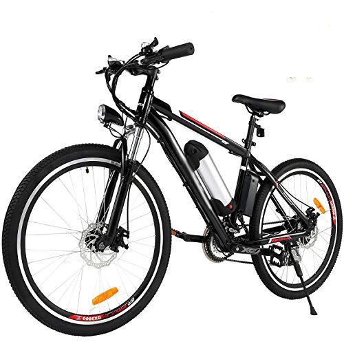 "BIKFUN 26\"" E-Bike Herren Damen, 26 Zoll Elektrofahrrad Elektrisches Fahrrad mit 250W Bürstenlosem Motor 36V 8Ah Lithium Akku 21-Gang-Getriebe (Schwarz Rot-8Ah)"