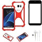 K-S-Trade® Handyhülle + Kopfhörer Für Cyrus CS 22 Schutzhülle Bumper Silikon Schutz Hülle Cover Case Silikoncase Silikonbumper TPU Softcase Smartphone, Rot (1x),
