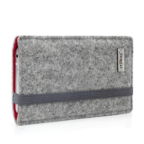 Stilbag maßgeschneiderte Handyhülle FINN - Anfertigung für Smartphones mit Case möglich | Farbe: hellgrau-rot | Smartphone-Tasche aus Filz | Handy Schutzhülle | Handytasche Made in Germany