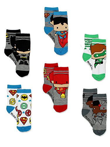 Batman Justice League Boy's 6 pack Athletic Crew Socks (4T-5T, Multi)
