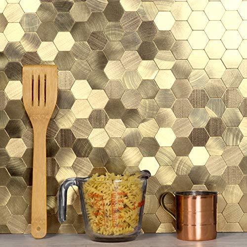 Abolos Tile Backsplash for Kitchen Wall Decor Metal Mosaic Tiles Sticker, Copper Hexagon Diamond Puzzle