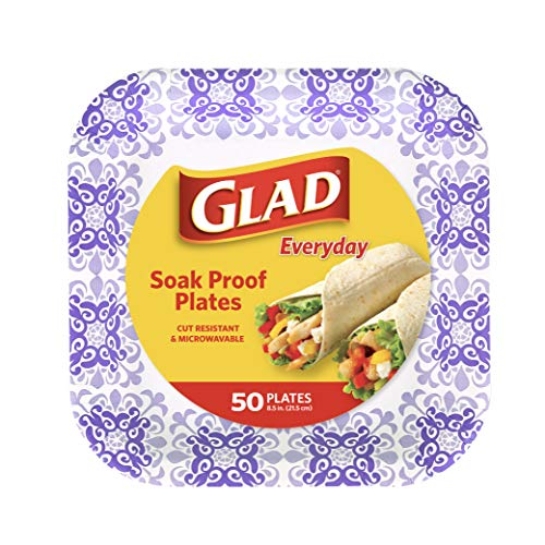 Glad Square Disposable Paper Plates for All Occasions | Soak Proof, Cut Proof, Microwaveable Heavy Duty Disposable Plates | 8.5' Diameter, 50 Count Bulk Paper Plates
