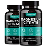 Magnesium Citrate Powder Capsules 400mg (Pack of 2) – [180 Count] Pure Non-GMO Supplements – Natural Sleep Calm Relax - Made in The USA