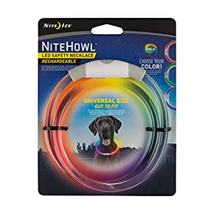 Nite Howl Rechargeable LED Safety Necklace with Disc-O Select Choose-Your-Color LED, Reusable Visibility Necklace for Pets