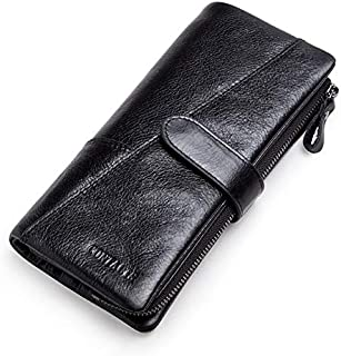 Genuine Leather Women Wallet 9 Style Long Purse Vintage Solid Cowhide Cards Holder Hand Bag Fashion Clutch Wallet