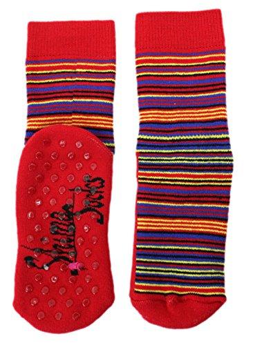 Shimasocks ABS Socken Ringel Vollplüsch Kinder, Farben alle:rot, Größe:35/38 bzw. 140/146