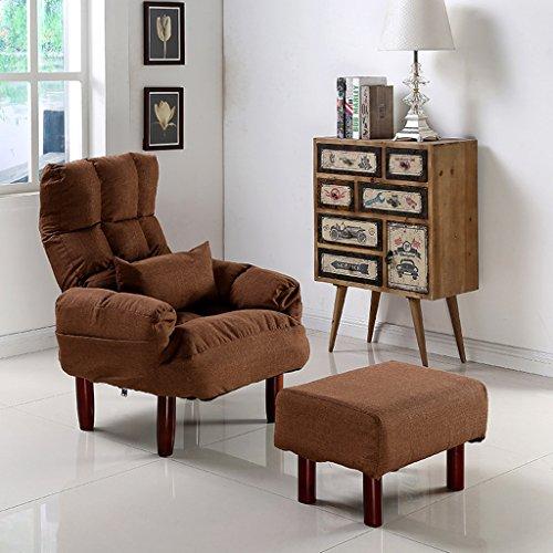 LI JING SHOP - Pliage paresseux canapé chambre salon Mini belle Loisirs chaise balcon avec un repose-pieds ( Couleur : Marron , taille : 20cm chair legs )