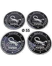 4x siliconen stickers/emblemen voor naafdoppen | Motief: schorpioen | Diameter: 55 mm